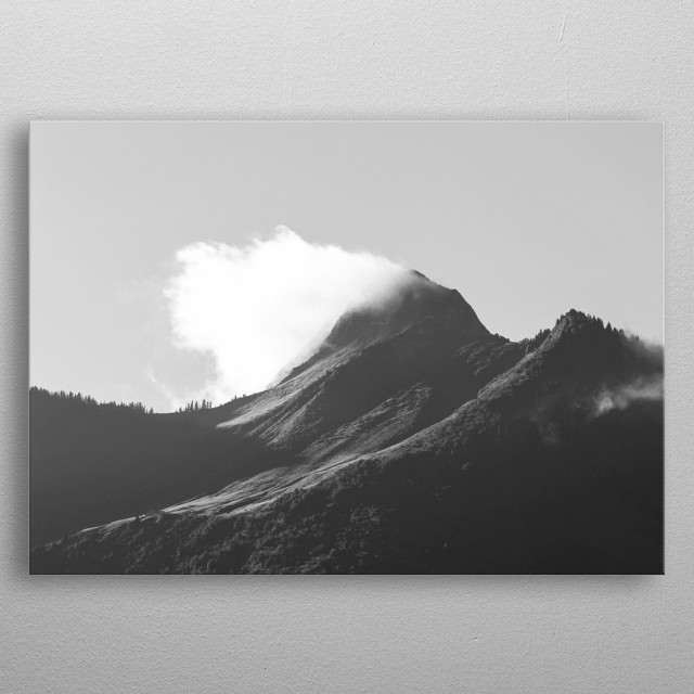 "I SEE FIRE | ""Oh, misty eye of the mountain below..."" Black and white photograph of a misty mountain. Taken in Austria. metal poster"