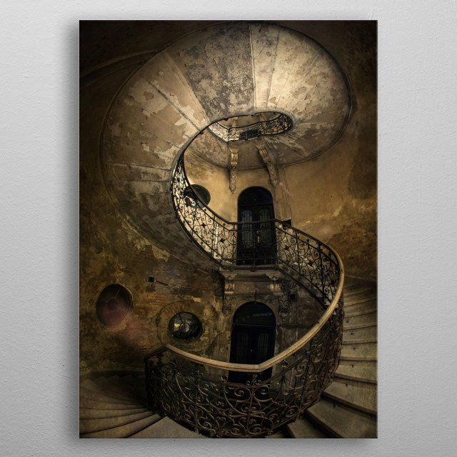 Old ruined spiral staircase metal poster