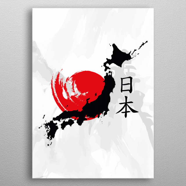 The Japanese country shape with a brushed red sun in the center metal poster