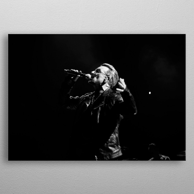 Bono with U2 live at the Forum in Los Angeles May 2015 metal poster