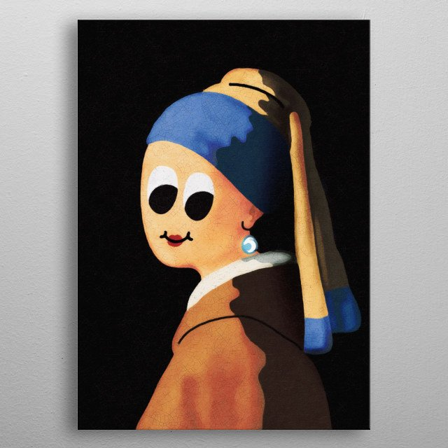 My own version of the well known Girl with pearl earring by Johannes Vermeer. This piece is from my Sparkle collection.  www.atinum.com metal poster