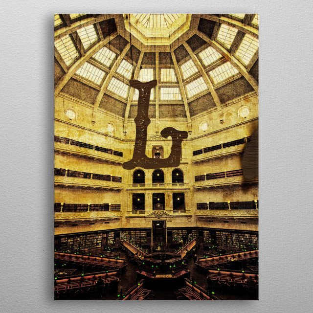 Grungy Melbourne Australia Alphabet Series - Letter L for Library. A view of the reading room inside the State Library of Victoria in Melbour... metal poster