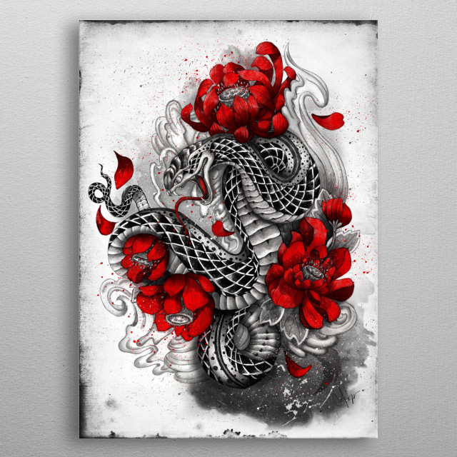 hebi serpent metal poster