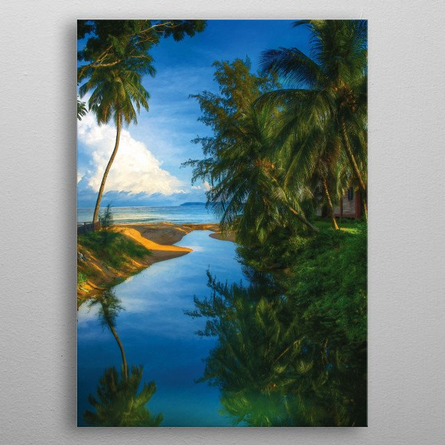 Reflection of a Palm tree metal poster