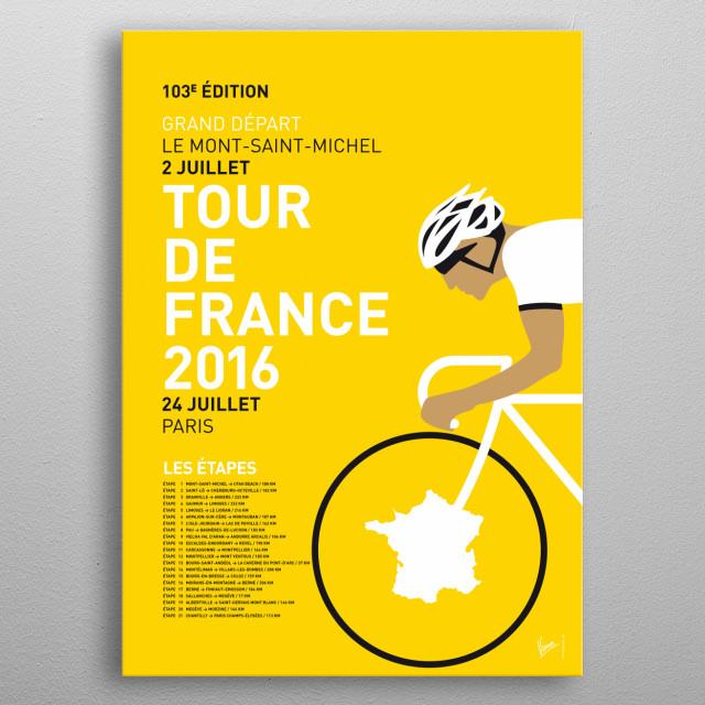 The Tour de France 2016  2016 Tour de France route seem... metal poster