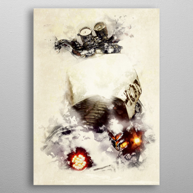 Custom cafe racer motorcycle watercolor illustration metal poster