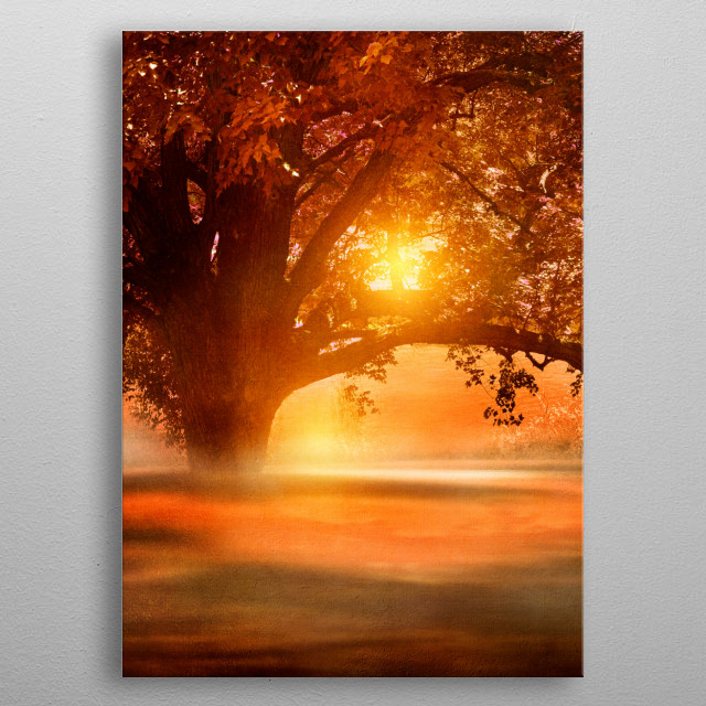 Romance in autumn metal poster