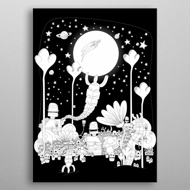 Space adventure with robots! metal poster