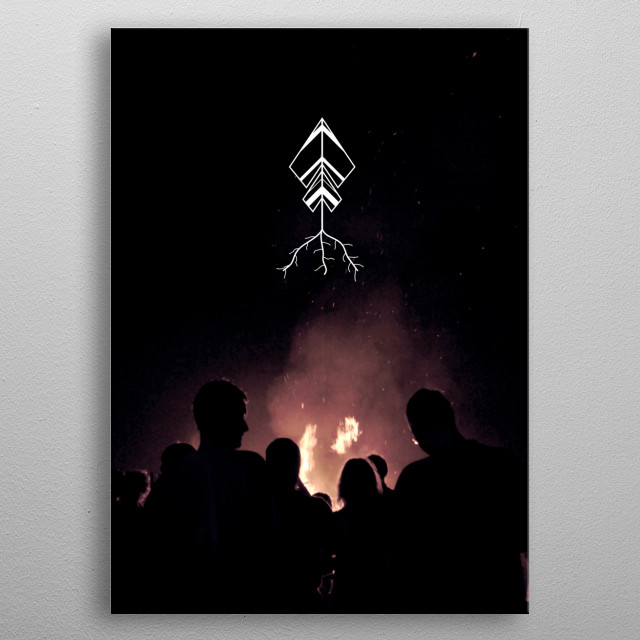 Night bonfire with friends and root arrow symbol metal poster