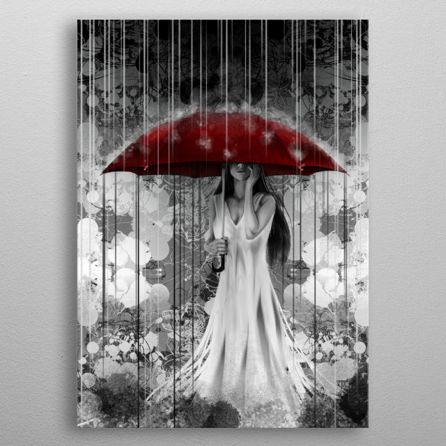 """""""Rain On"""". A mixed media painting, enjoy and cheers! metal poster"""