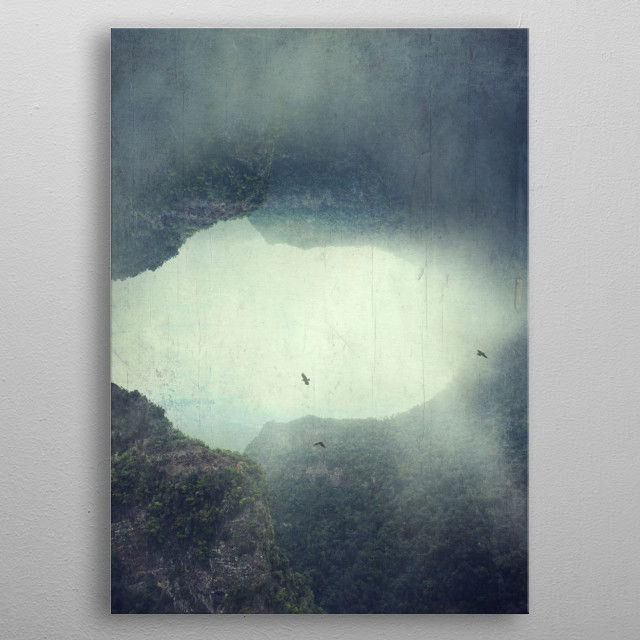 the Opening Image manipulation - foggy mountains on the island of La Palma/Canary Islands/ Spain metal poster