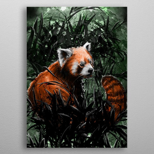 """A Red Panda"". Enjoy and Cheers! metal poster"