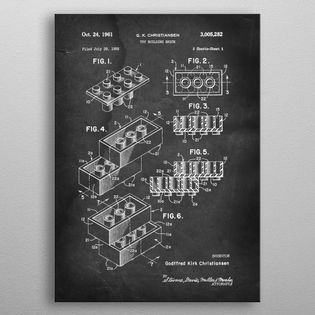 Lego (Toy Building Block) - Patent by G. K. Christiansen - 1961 metal poster