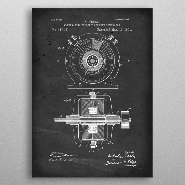 Alternating Electric Current Generator - Patent by N. Tesla - 1891 metal poster
