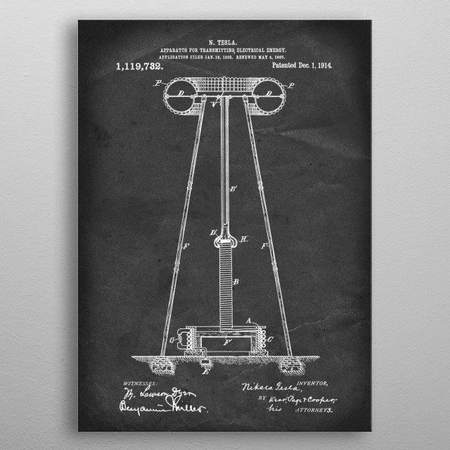 Apparatus for Transmitting Electrical Energy - Patent by N. Tesla - 1914 metal poster