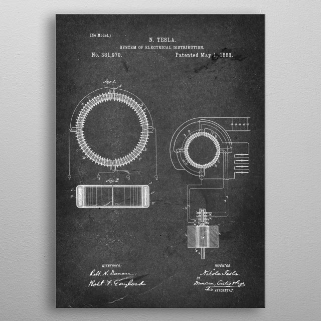 System of Electrical Distribution - Patent by N. Tesla - 1888 metal poster