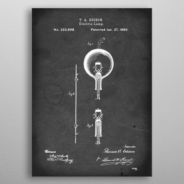 Electric-Lamp - Patent by T. A. Edison - 1880 metal poster