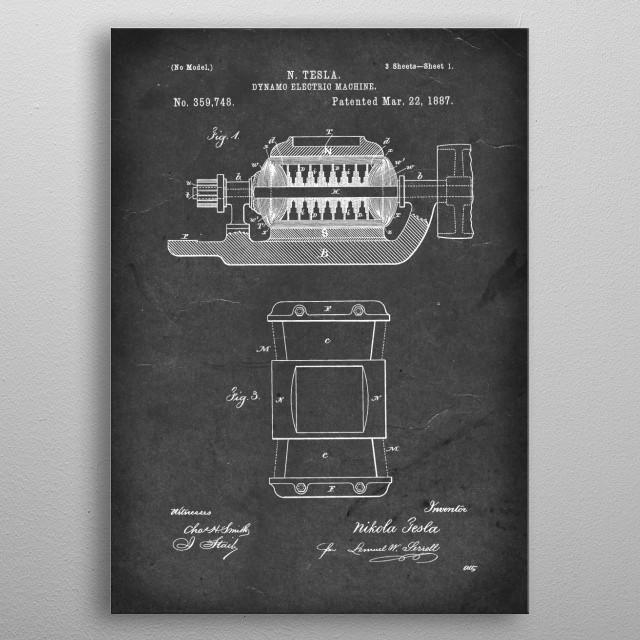 Dynamo Electric Machine - Patent by N. Tesla - 1887 metal poster