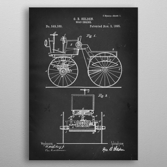 Road Engine - Patent by G. B. Selden - 1895 metal poster