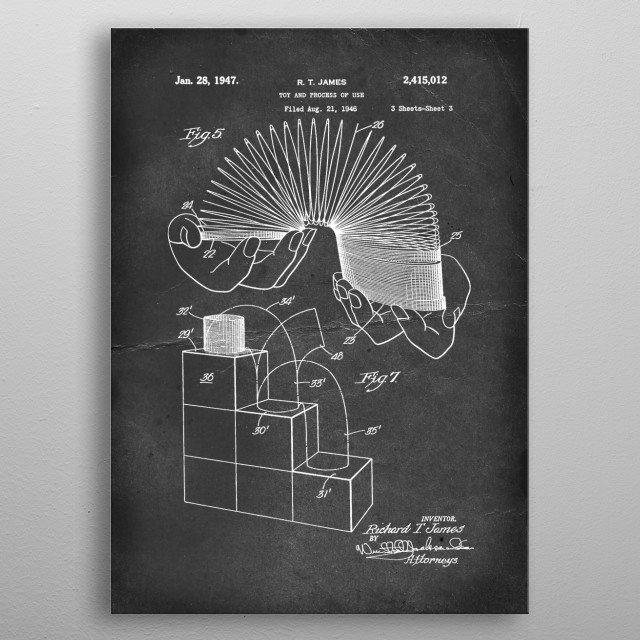 Slinky (Toy and Process of Use) - Patent by R. T. James - 1947 metal poster