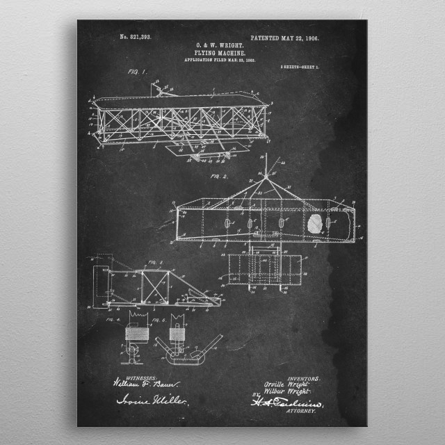 Flying Machine - Patent by O. & W. Wright - 1906 metal poster