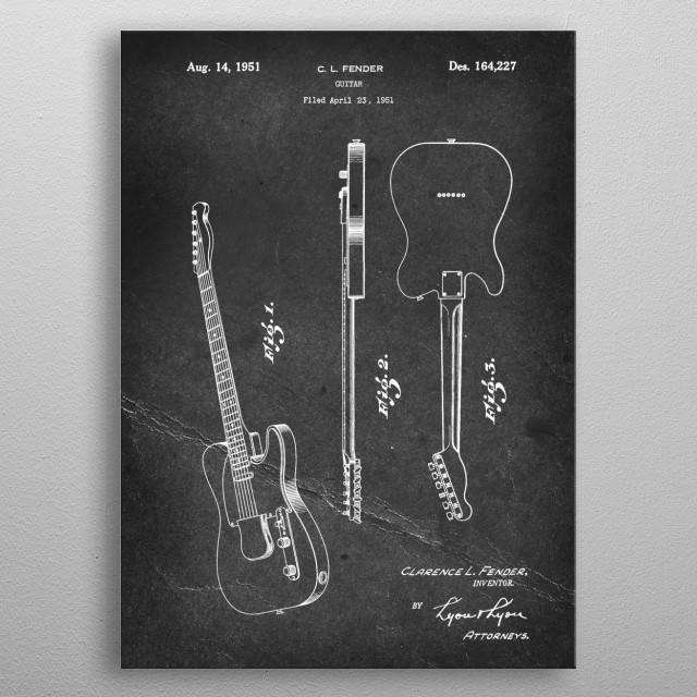 Guitar - Patent by C. L. Fender - 1951 metal poster