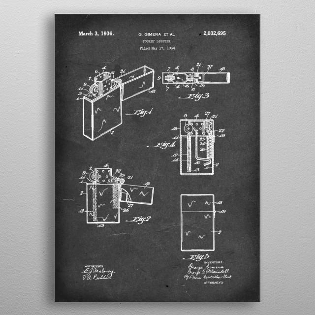 Pocket Lighter (Zippo) - Patent by G Gimera (et al) - 1936 metal poster