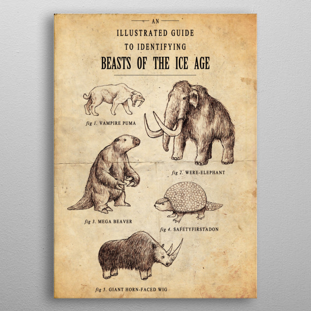 An old scientific chart of Ice Age mammals that was mainly guesswork. metal poster