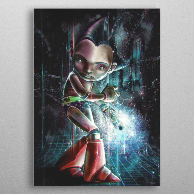 This is a collaborative by Dennis Hansbury and  Barrett Biggers of a stylized portrait of Astroboy inspired by the retro anime and manga. metal poster