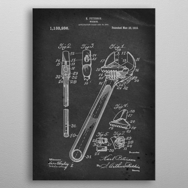 Wrench - Patent by E. Peterson - 1915 metal poster