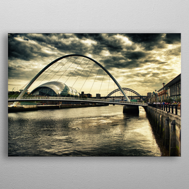 One of my favourite places, the beautiful Newcastle Quayside, featuring the famous Tyne Bridge, the cutting-edge Millenium Bridge, and the sublime curves and amazing architecture of the Sage Building metal poster
