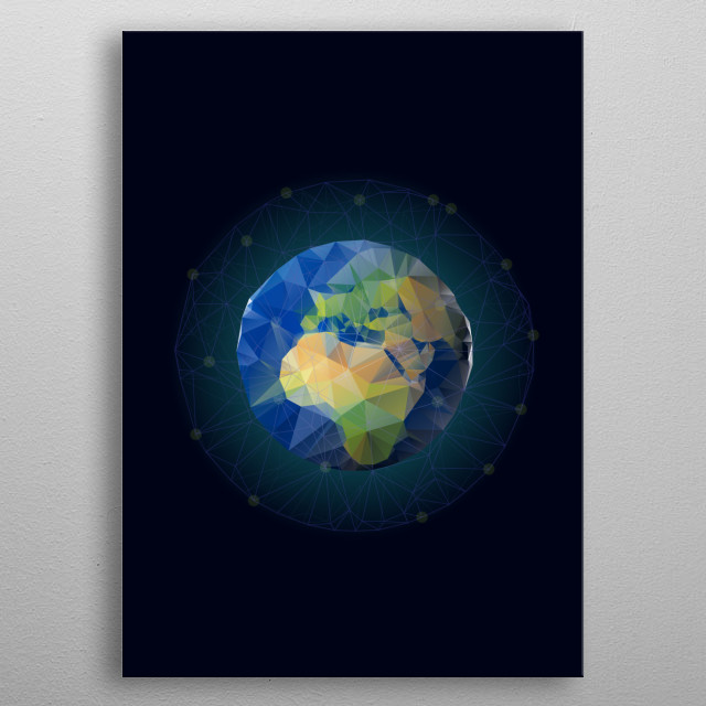 low poly earth metal poster
