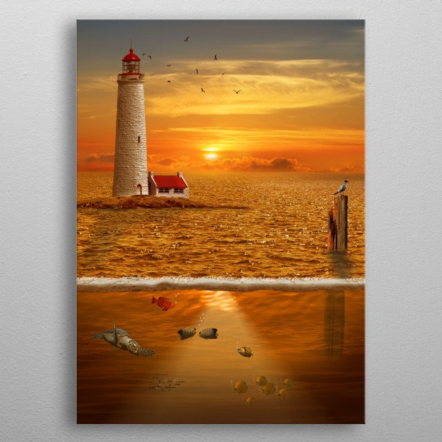 The view over and underwater with lighthouse at sunset and some fishes. metal poster