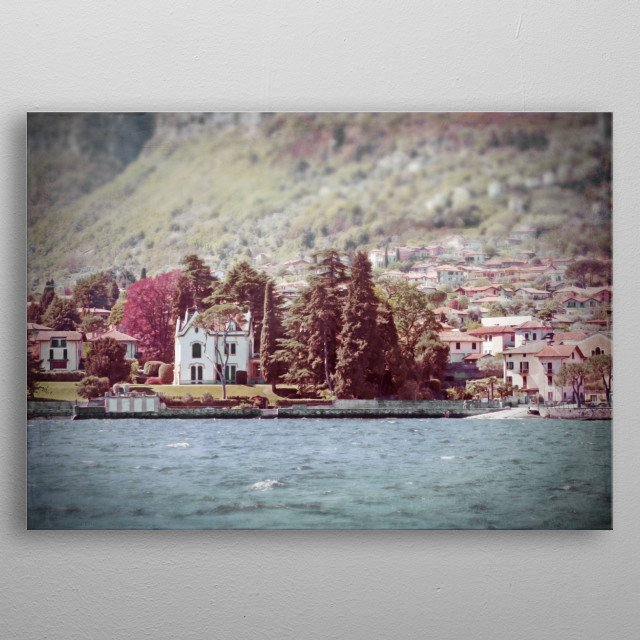 On Lake Como, a white Italian villa and a lakeside and hillside town are surrounded by green and burgundy red trees - lomo photography effect. metal poster