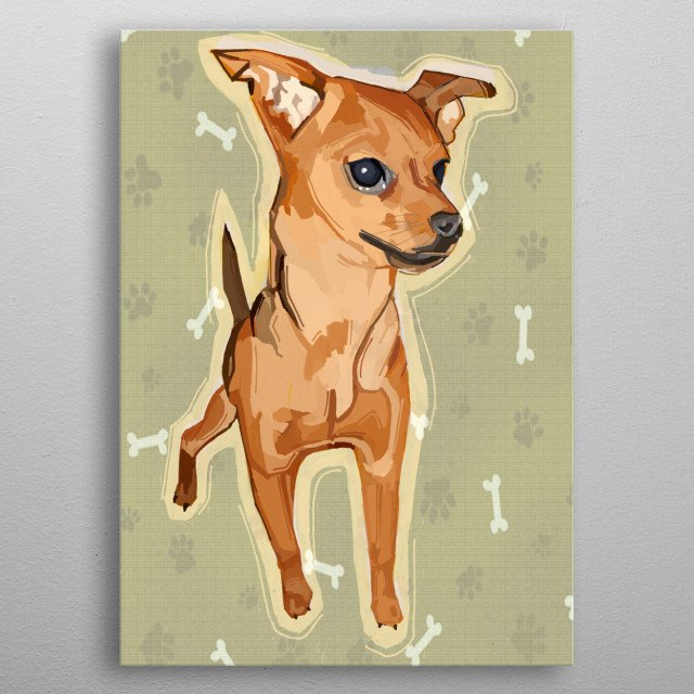 A chihuahua is so cute and tiny! What better way to portray this smallest breed of dog than in a vintage style. metal poster