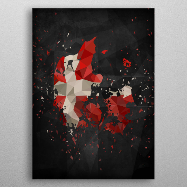 Polymetric map of Denmark shattered and overlayed with the danish flag together with a dark background to bring contrast. metal poster