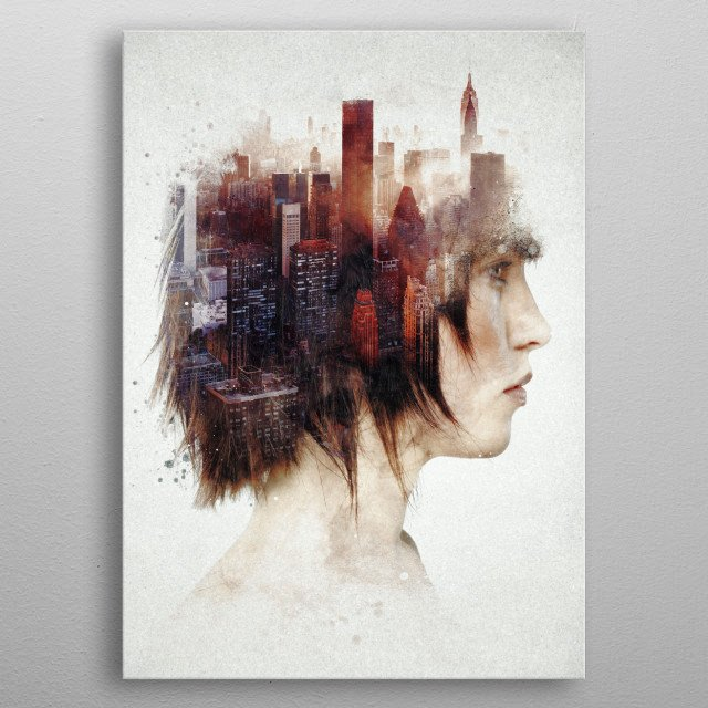 Surrealism in the City metal poster