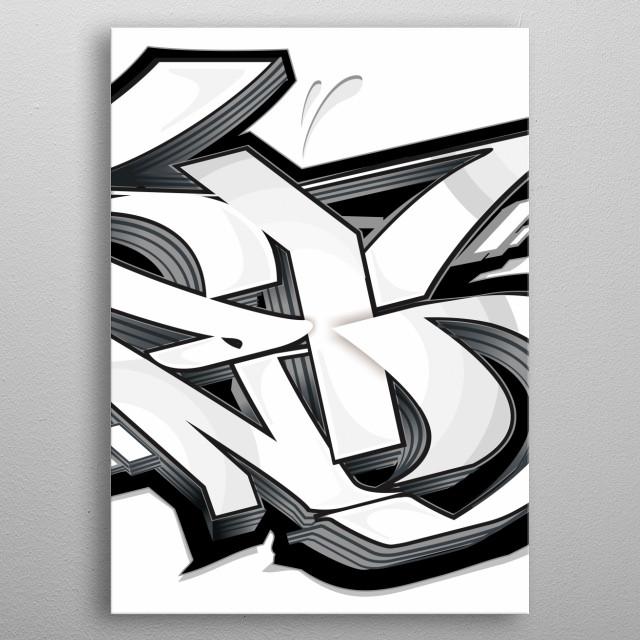 Graffiti white metal poster