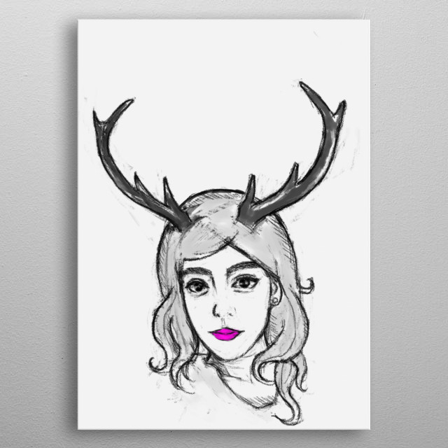 Her features look oriental, but he can't be sure. One thing is certain... she is not exactly human with her deer antlers. metal poster