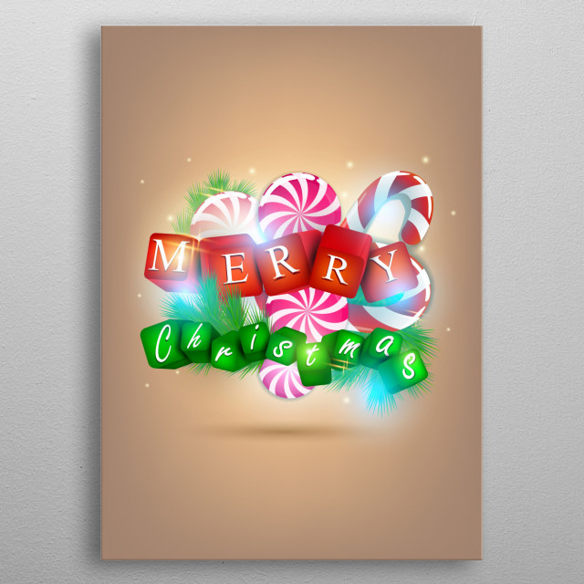 Merry Christmas 3D style metal poster