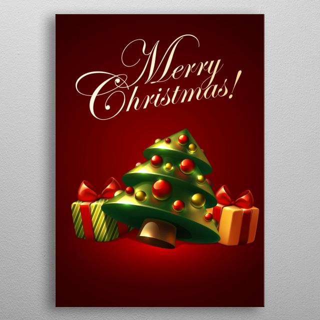Christmas Tree 3D metal poster