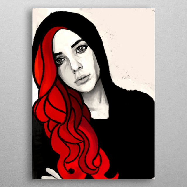 Her hair is as red as the evening sun. However, her expression is as cold as the winter dusk. metal poster