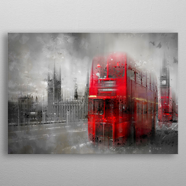 Typical London street scene with red buses on Westminster Bridge. Modern artwork. metal poster
