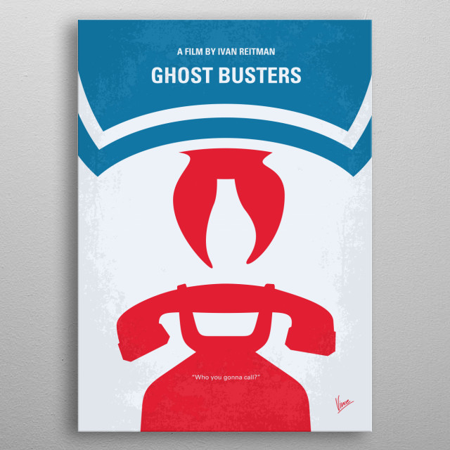No104 My Ghostbusters minimal movie poster  Three unemployed parapsychology professors set up shop as a unique ghost removal service.  Direct... metal poster