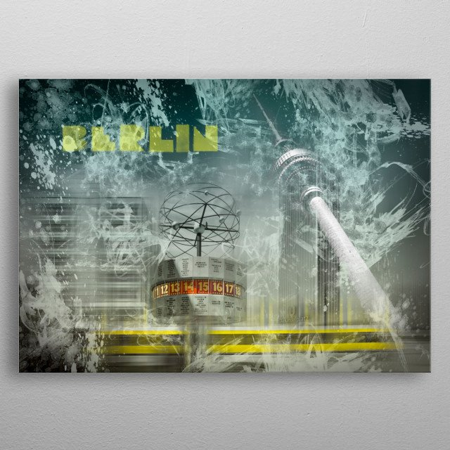 Modern collage displays the Television Tower and the Alexanderplatz in Berlin, Germany. metal poster