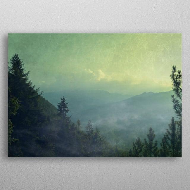 Rising mists over the valley Valmalenco in the Italian Alps near Chiareggio - textured photograph metal poster