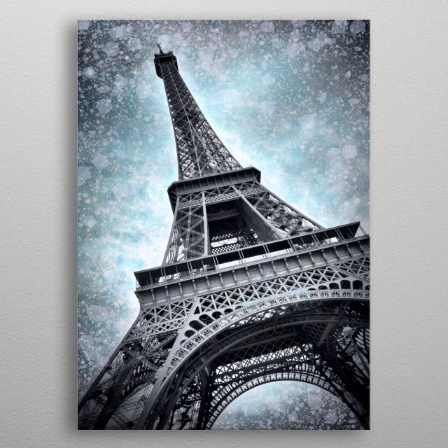 Decorative impression of Eiffel Tower in Paris.  metal poster