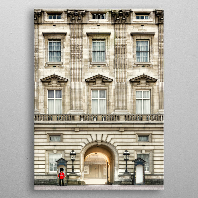 Buckingham Palace is the London residence and principal workplace of the reigning monarch of the United Kingdom. Located in the City of Westminster, the palace is often at the centre of state occasions and royal hospitality metal poster