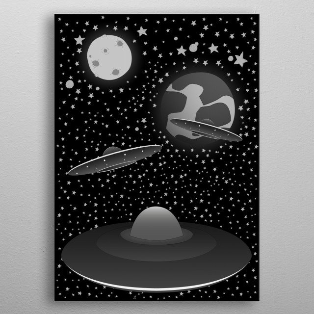 Earth invasion from the space metal poster