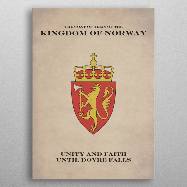 The Coat of Arms of the Kingdom of Norway. English Version. metal poster